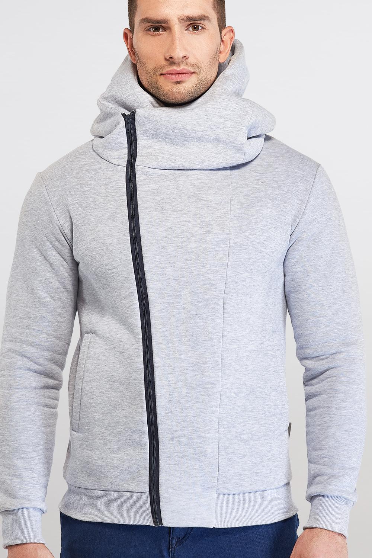 Bluza dresowa z ukośnym zamkiem jasny melanż